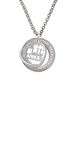 Lil Sister in Open Heart - 5/8'' Custom Engraved Affirmation Ring Necklace (5/8' Round Pendant Jewelry)