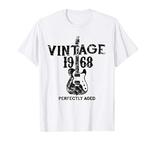 50th Birthday Vintage Rocker Design T Shirt 1968 Retro Tee