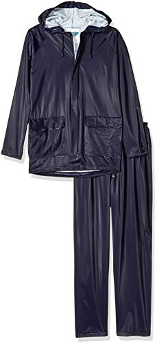 TUFF-ENUFF PLUS S62211.XL 2 Piece .25mm Double Ply PVC Jacket Zip Snap Fly Front Pants, X-Large, Navy