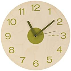 DecoMates Wall Clock, Wooden Olive
