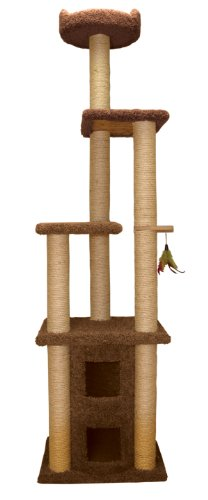 Family Cat 49263 Two Story Cat Condo with Sky Lookout, Coco Brown, My Pet Supplies