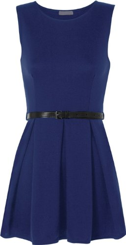 Fashion Pleats Navy Ditzy Belted Dress Skater Frankie Sleeveless Mini Women's Flared ZOqd4BO