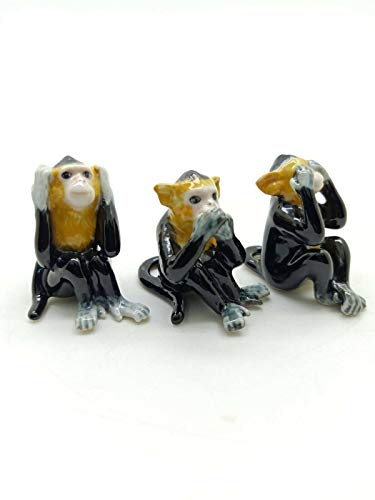 Grandroomchic Dollhouse Animal Miniature Handmade 3 Monkey Bear Porcelain Statue Antique Ceramic Decorative 1/24 Scale Figurine Collectibles Gift Collectors from Grandroomchic