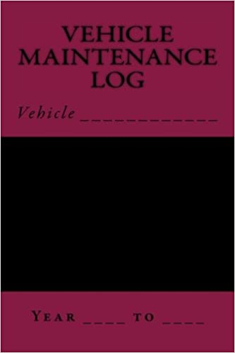Vehicle Maintenance Log Black And Maroon S M Car Journals S M