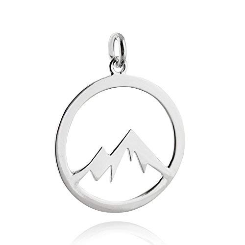 Mountain Range Cutout Charm - 925 Sterling Silver - Round Open Silhouette - Jewelry Accessories Key Chain Bracelets Crafting Bracelet Necklace Pendants (Silhouettes Round Earrings)