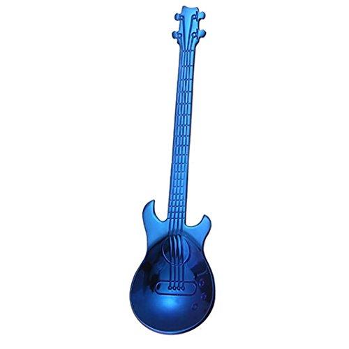 ZTTONE Spoon,Stainless Steel Guitar Spoons Rainbow Coffee Tea Spoon Flatware Drinking Tools (Blue) ()