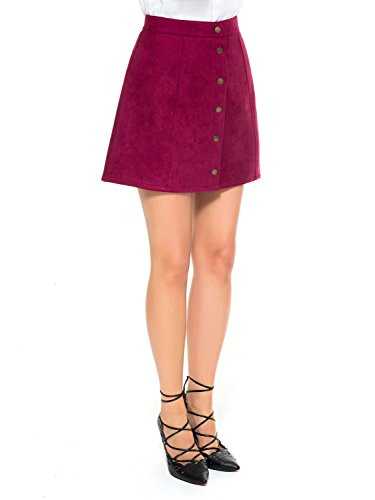 Clothink Burgundy Corduroy Button Closure High Waist A-Line Short Skirt L ()