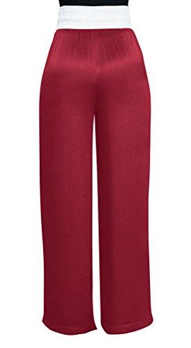 Bandage Oufour Lâche Rouge Large Avec Pantalon Jambe Femmes Taille Rayures Beach Mode Coutures Long Haute De Vin rwaXqrxv
