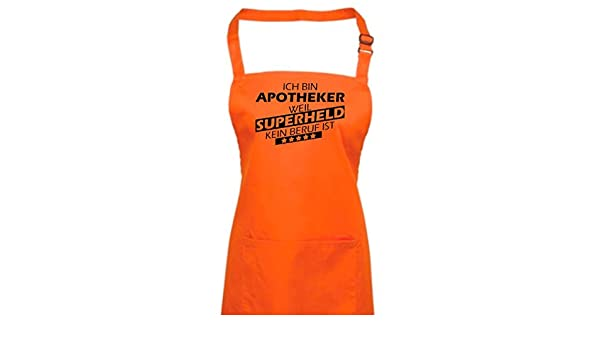Delantal, ich bin farmacia, porque Super Held No Profesión es, algodón mezcla, naranja, 72 x 86 cm: Amazon.es: Hogar