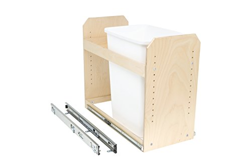 Slide-A-Shelf AMC-PL-TSU-12W18D20H-F Baltic Birch Single Bin Trash/Recycle Center with Full Extension, 12'' x 18'' x 20'' by Slide-A-Shelf