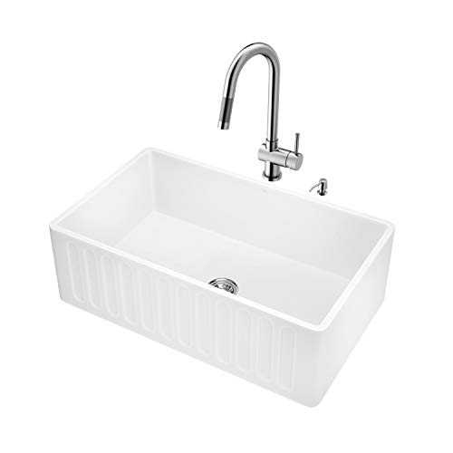 VIGO 30 inch Farmhouse Apron Single Bowl Matte Stone Kitchen Sink and Gramercy Stainless Steel Faucet Set