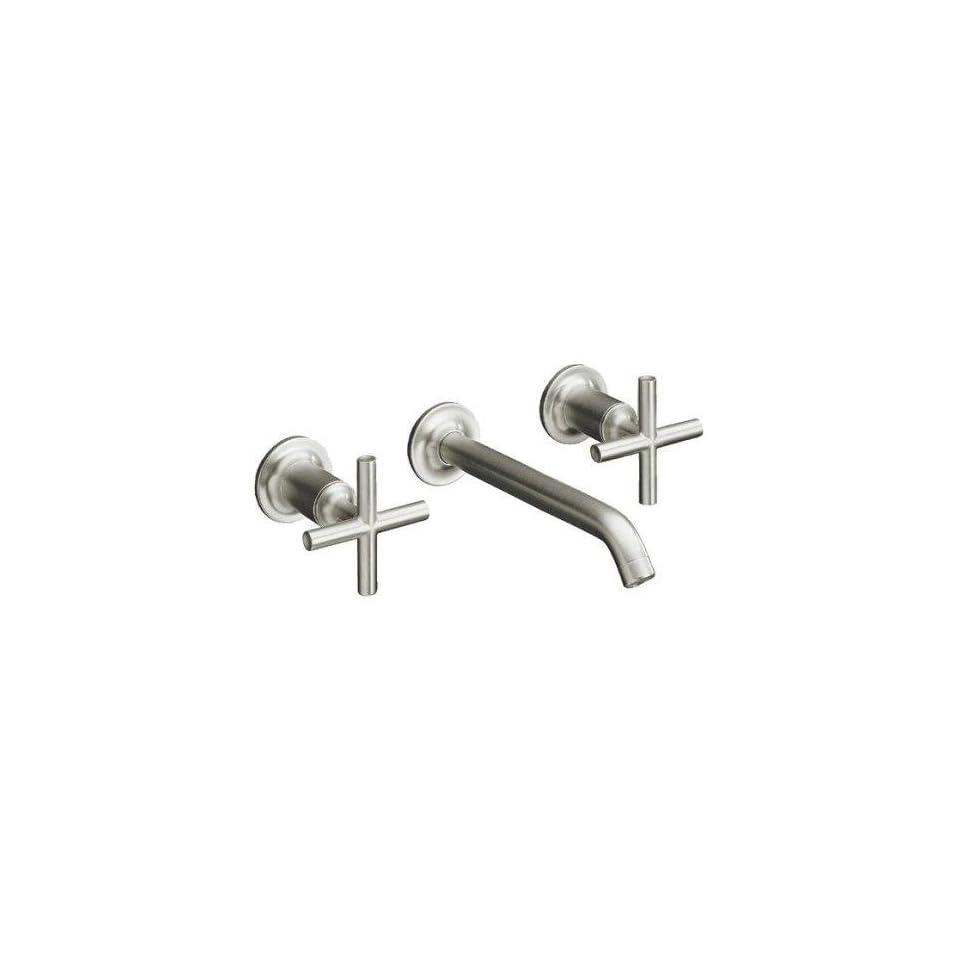 Kohler Purist Brushed Nickel Wall Mount Bathroom Sink Faucet, 6 1/4 Spout+Cylinder Cross Handles