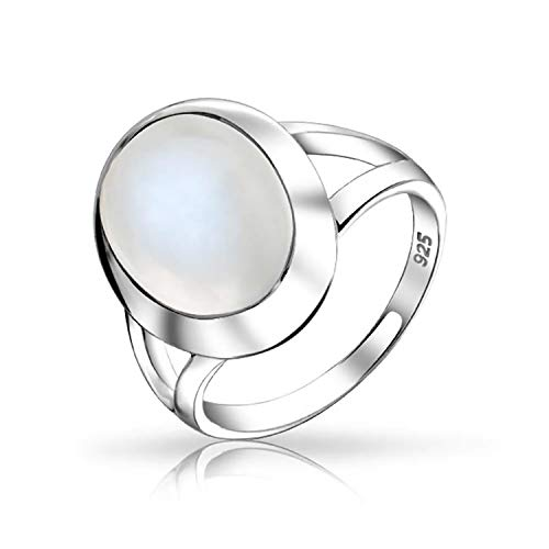 Bling Jewelry Oval Simulated Moonstone Ring 925 Sterling Silver,9