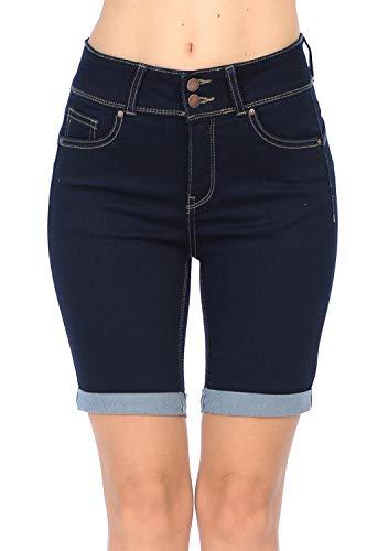 (Wax Jean Women's Juniors Butt I Love You High Rise Push-Up 2 Button Bermuda Denim Shorts)