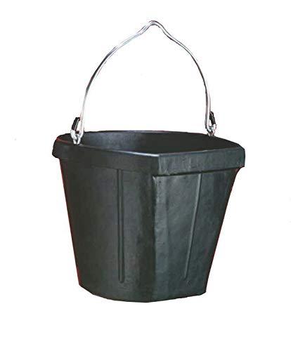 - Fortex Flat Side Feed Bucket for Horses, 18-Quart