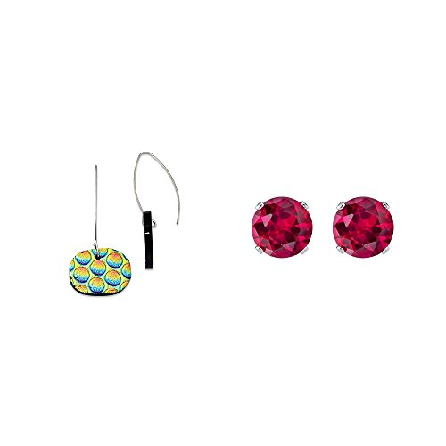 - Sterling Silver Multicolor Dichroic Glass Round Dangle Earrings and Red 4mm CZ Stud Earrings