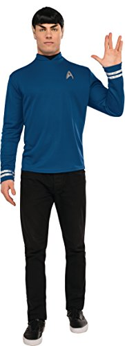 Costumes Star Trek Costumes (Rubie's Men's Star Trek: Beyond Spock Deluxe Costume Shirt, Blue, X-Large)