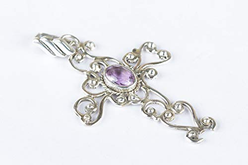 Amethyst Pendant 925 Sterling Silver Cross Shape pendant Inspired Attract Healing Long Victorian Gorgeous Round Stone Festival Pretty Handmade Jewelry