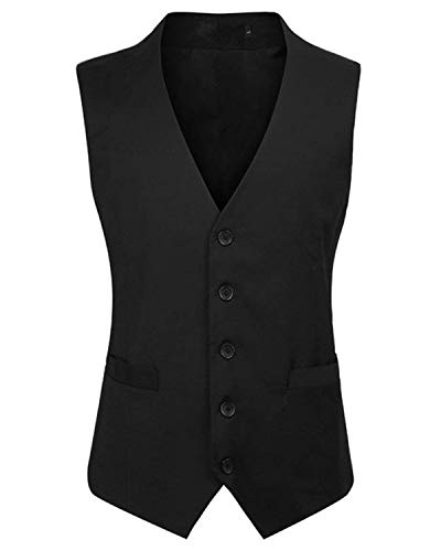 YBang Men's Business Suit Vest V-Neck 5 Buttons Regular Fit Waistcoat WD001 (Black,XL) - Waistcoat Black