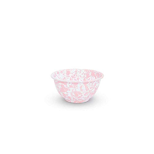 Enamelware Footed Bowl, 16 ounce, Pink/White Splatter (4)