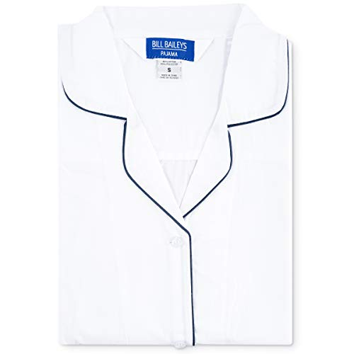 Bill Baileys Sleepwear Mens Broadcloth Woven Nightshirt Sleep Shirt (Large, White) -