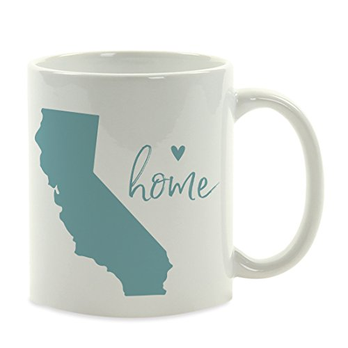 Andaz Press 11oz. US State Coffee Mug Gift, Aqua Home Heart, California, 1-Pack, Unique Hostess Distance Moving Away Christmas Birthday Gifts for Her by Andaz Press