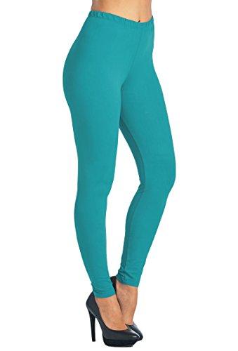Leggings Mania Women's Plus Solid Color Full Length High Waist Leggings Teal