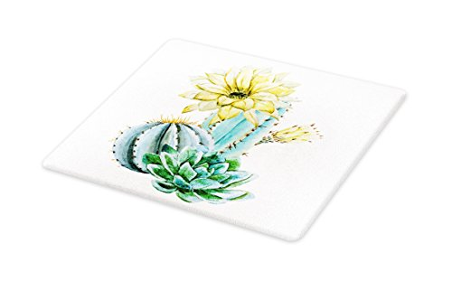 Lunarable Succulent Cutting Board, Watercolor Style Cactus Composition Exotic Climate Flora Art, Decorative Tempered Glass Cutting and Serving Board, Small Size, Pale Yellow Green Pale Blue ()