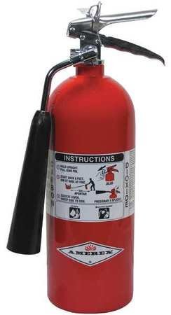 Amerex 322 5 Pound Stored Pressure Carbon Dioxide 5-B:C Fire Extinguisher for Class B/C Fires with Chrome Plated Brass Valve, Wall Bracket/Horn, English, 15.34 fl. oz, Plastic, 17.75 x 1 x 8.25 by Amerex (Image #1)