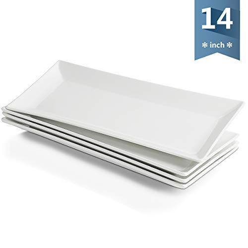 (Sweese 3305 14-inch White Rectangular Plates/Serving Trays for Parties, Porcelain Dinner Plates - Set of 4)