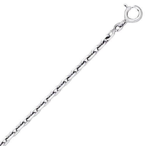 So Chic Bijoux © Chaîne Collier Longueur 60 cm Maille Forçat Diamantée 2,15 mm Or Blanc 750/000 (18 carats)