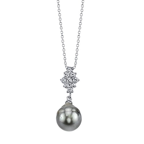 THE PEARL SOURCE 9-10mm Baroque Black Tahitian Cultured Pearl Cubic Zirconia Gina Pendant Necklace for Women