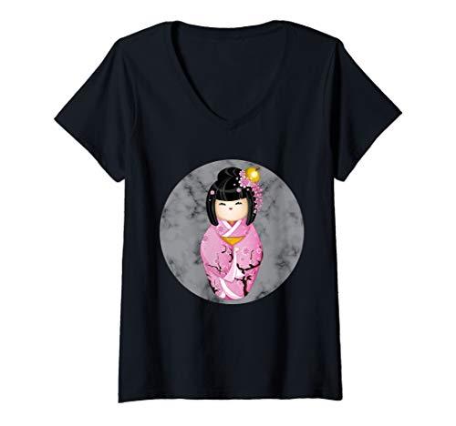 (Womens JAPAN'S DOLL OR GEISHA IN KIMONO OF SAKURA CHERRY BLOSSOM V-Neck T-Shirt)