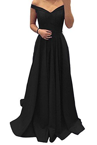 Evening The Dress Shoulder Satin Prom Line Neck Long Black Off V Jazylynbride aqTzw