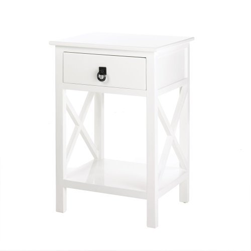 Koehler Home Decor White Glossy Side Table For Sale