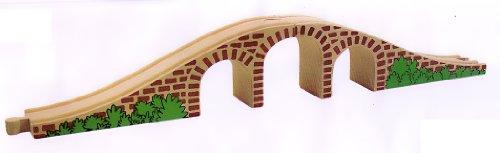 HOLZEISENBAHN ZUBEHÖR EISENBAHN BRÜCKE SCHIENE HOLZ 43cm - paßt zu allen gängigen Holzschienen - Holzspielzeug - für Holzeisenbahn
