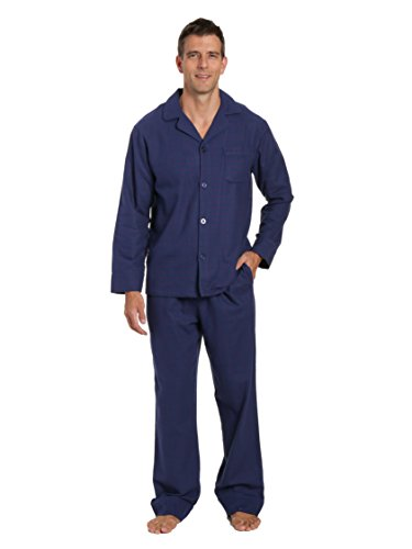 Flannel Loungewear (Noble Mount Men's Flannel Pajama Set - Checks - Dark Blue - Medium)