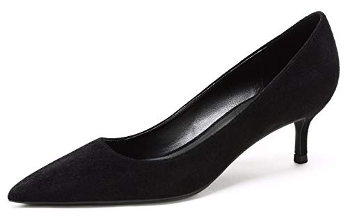 (CAMSSOO Women's Low Heel D'Orsay Slip On Pointed Toe Dress Pumps Shoes Black Velvet Size US8 EU40)