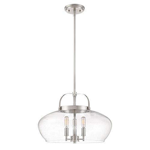 Quoizel CTP2818BN City Park Bowl Convertible from Pendant to Semi-Flush Ceiling Lighting, 3-Light, 180 Watts, Brushed Nickel (14