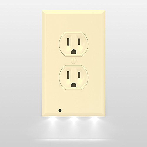 Ivory Wall Wall Plate - SnapPower Guidelight - Outlet Wall Plate With LED Night Lights - No Batteries Or Wires - Installs In Seconds - (Duplex, Ivory) (1 Pack)