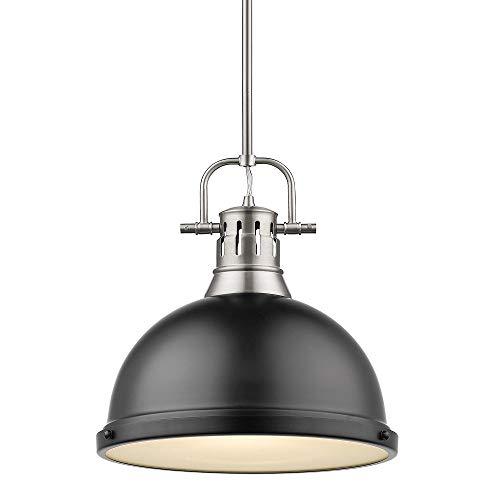 Golden Lighting 3604-L PW-BLK One Light Pendant Black