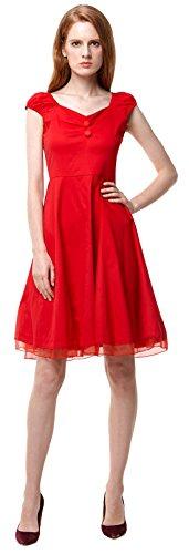 Vídeo de las mujeres cuadrado cuello Vintage Años 50Fiesta Swing Vestido De Dama Rosso