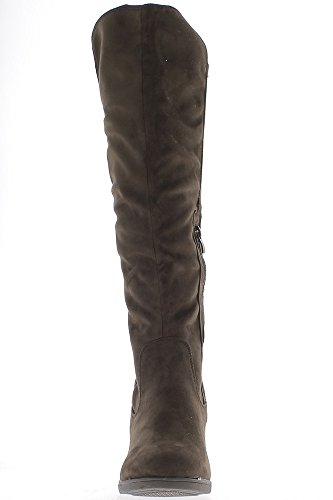 ChaussMoi Brown raddoppiato Aspetto 6cm Raso e Camoscio Tacco Stivali