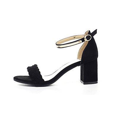 COOLCEPT Zapato Mujer Western Tacon Ancho medio Sin Cordones Mixed Colors Court Zapatos With Hebilla (37 EU, Black)
