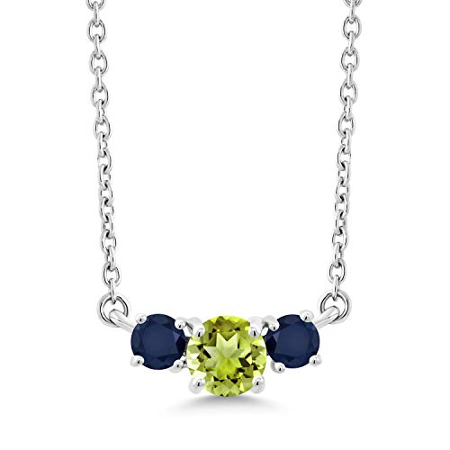 Gem Stone King 0.71 Ct Round Green Peridot Blue Sapphire 10K White Gold Necklace