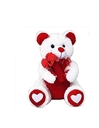 7d335740753 Buy A.P.TARDERS Stuffed Spongy Hugable White and Red Rose Teddy Bear ...