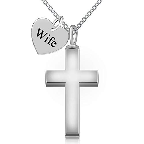 (BEILIN 925 Sterling Silver Heart Cross Urns Cremation Neckalces Jewelry for Ashes Wife - Forever in My Heart)