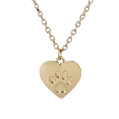 Molyveva Forever Love Heart Puppy Dog Cat Pet Paw Cut Out Pendant Necklace Lovers Couple Necklace Jewelry ()