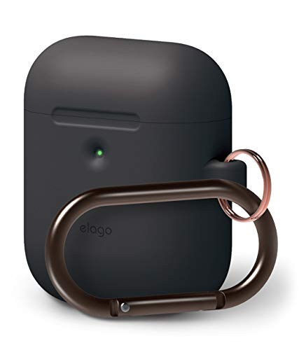 elago AirPods 2 Silicone Cover - Compatible with AirPods 2 Wireless Charging Case, Front LED Visible, Extra Protection, Added Carabiner, Latest 2019 Model [Black]