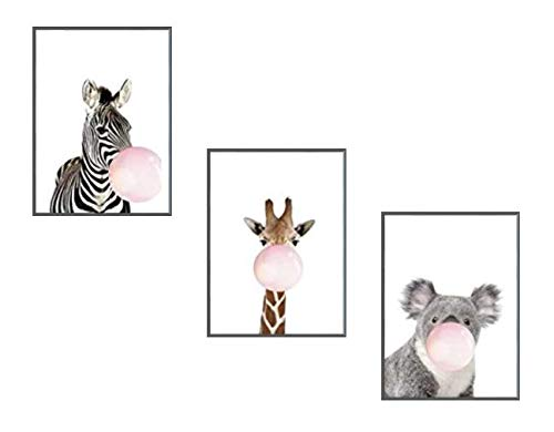 "Animal Nursery Wall Art Printing Polyester Canvas Poster Set of 3 Pieces Zebra Giraffe Koala for Baby Kids Bedroom Living Room Decoration(8'' x12""x3 Framed and UnFramed) (Unframed) by K_GoodGoods"
